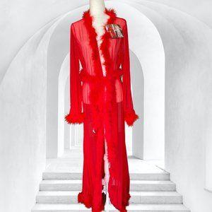 NWT Red Fur Boa Mesh Sheer Robe